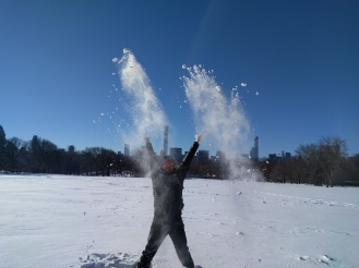 Playing in the Central Park snow