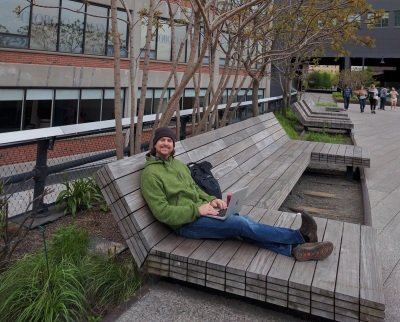 Working on my book at the High Line